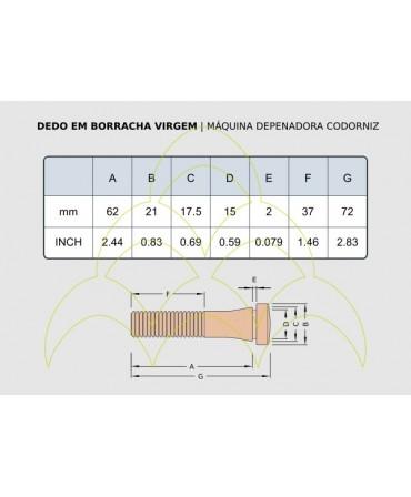 Dedo em Borracha - Para Codorniz: medidas em mm e polegadas