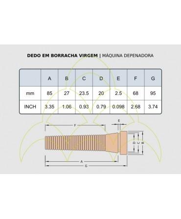 Dedo em Borracha - Virgem: medidas em mm e polegadas