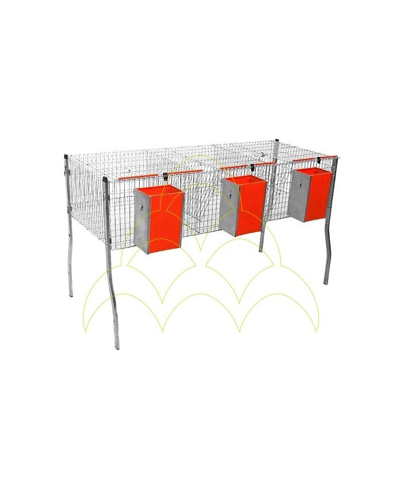 Cage - 3 Compartments/ 1 Level - For Rabbits