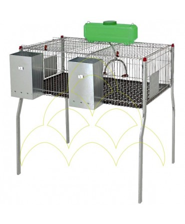 Cage - 2 Compartments/ 1 Level - For Rabbits