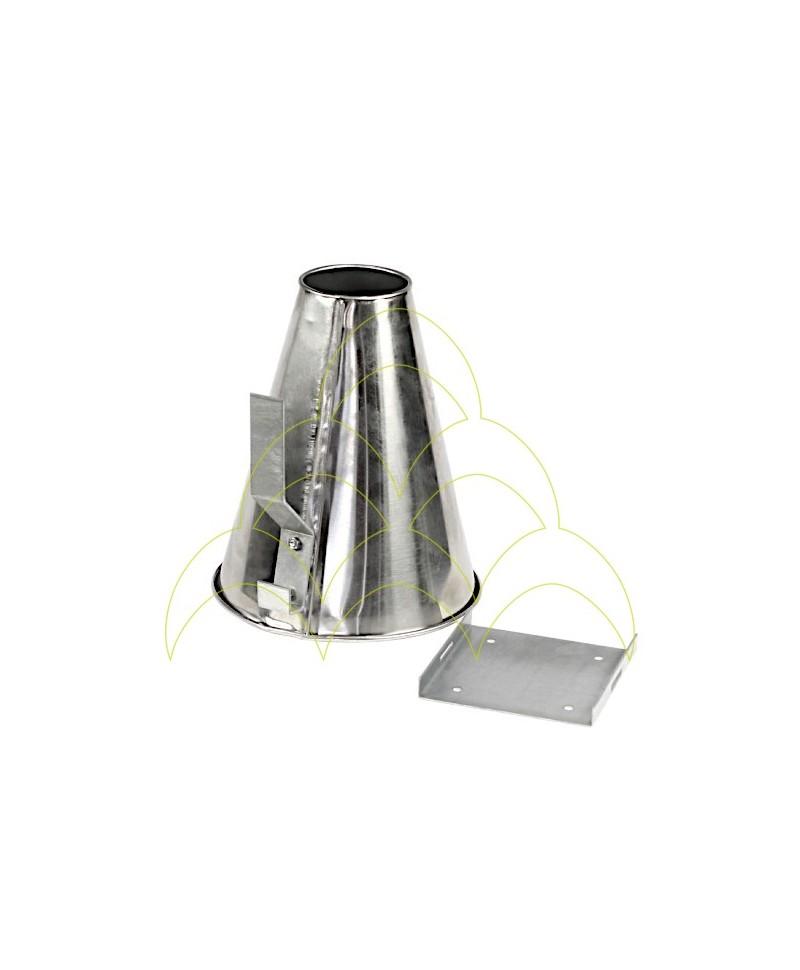 Funil Sangrador - Pequeno - Aço Inox: Com suporte de fixação