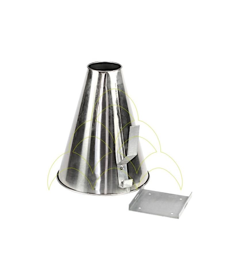 Funil Sangrador - Médio - Aço Inox: Com suporte de fixação