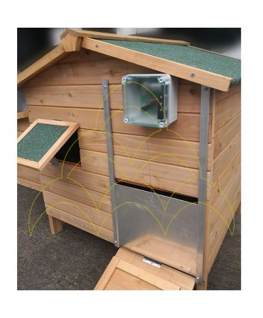 Galinheiro com o KIT - Abertura de Porta Automática ECO - Para Galinheiros: porta fechada