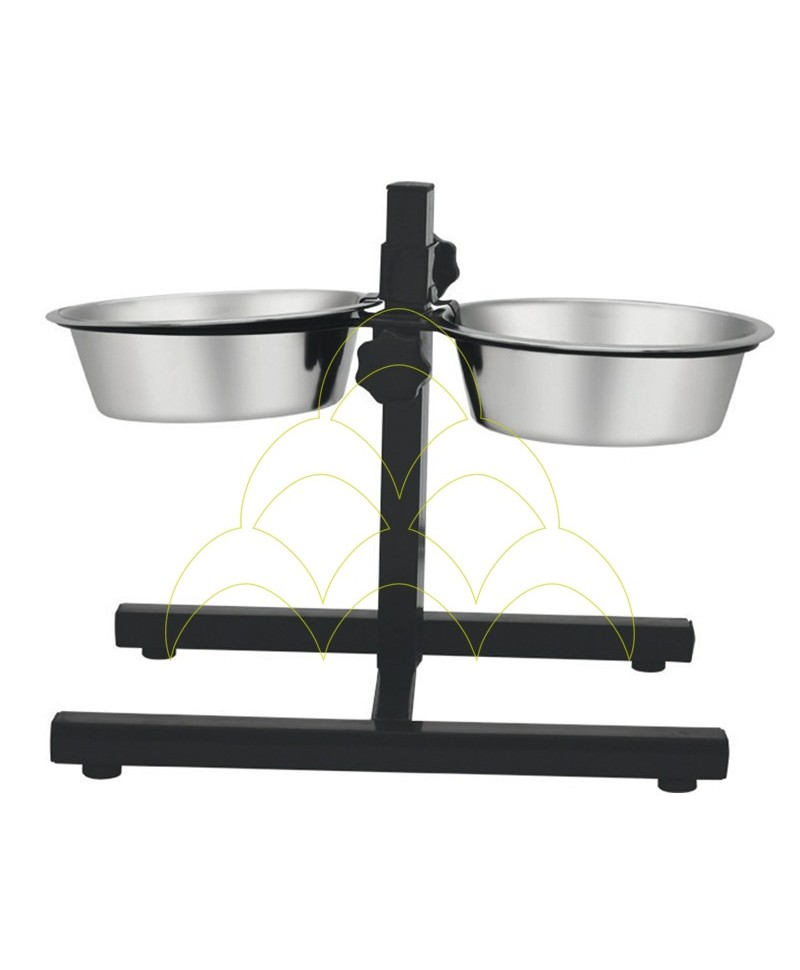 Double Dogs Feeder With Adjustable Support - 1,8L - Stainless Steel