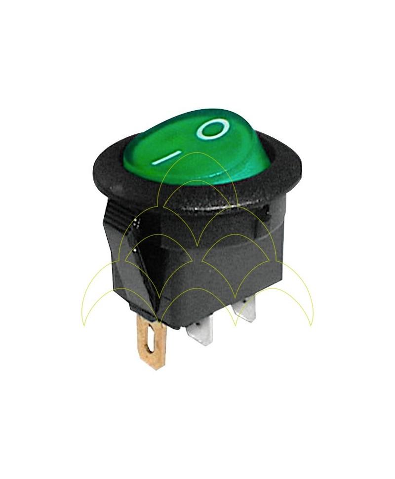 Interruptor Luminoso Redondo ON-OFF - 250V/6A - Verde