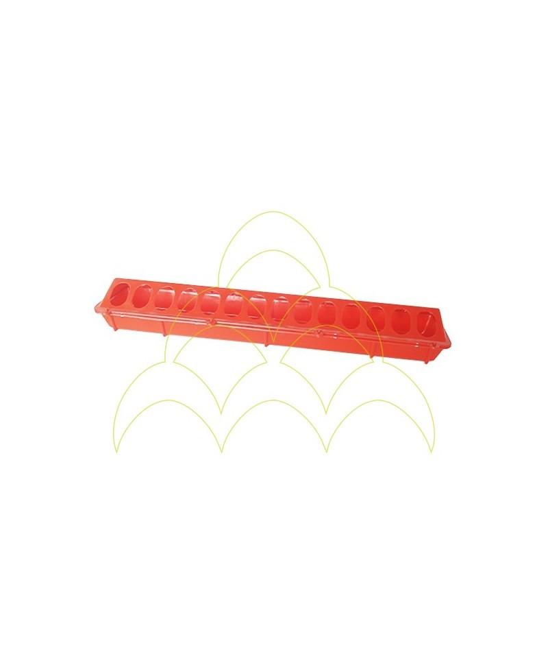 Comedouro rectangular plástico 50cm vermelho 1ª idade